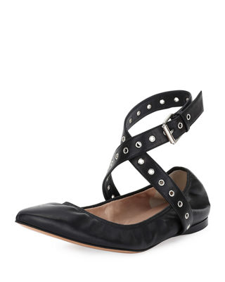 Valentino Love Latch Leather Ankle Strap Flats