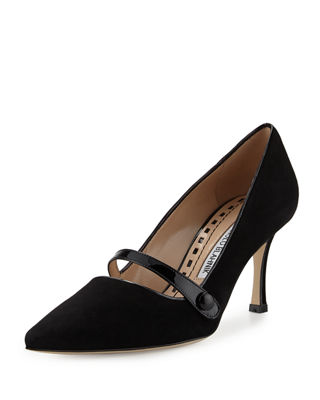 Manolo Blahnik Suede Mary Jane Pumps