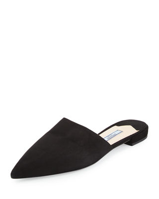 Prada Pointed-Toe Leather Mules