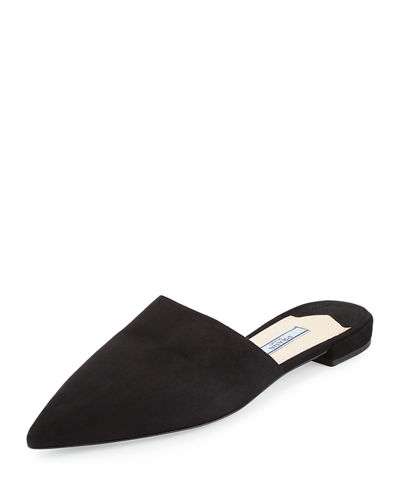 Prada Pointed-Toe Leather Mules Clearance Discounts Sale Online Shop Finishline For Sale 4P5deO0Bs4