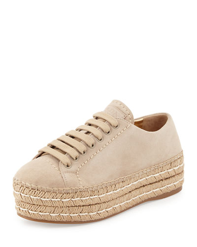 Prada Suede Platform Espadrilles Cheap Sale Choice Sale Best Place Free Shipping Collections Free Shipping Classic Sale 100% Authentic KH13SJK6