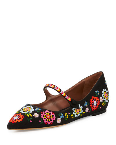 Hermione Embroidered Linen Flat
