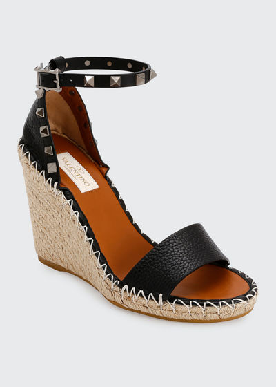 Rockstud Double Espadrille Wedge Sandals
