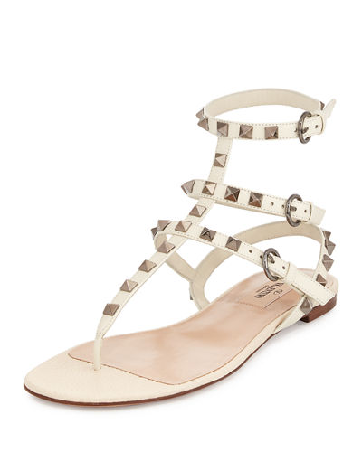 Rockstud Flat Leather Thong Sandal