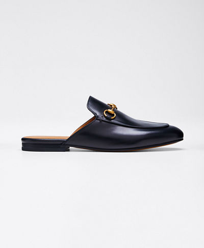 Princetown Leather Horsebit Mule Slipper Flat  Black