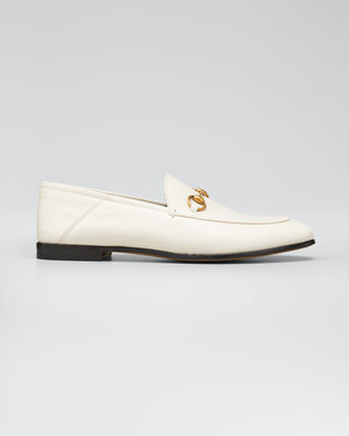Brixton Horsebit-Detailed Leather Collapsible-Heel Loafers, Mystic White
