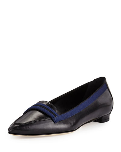 Get To Buy Cheap Online Manolo Blahnik Leather Loafer Flats Outlet Shop knqstrW