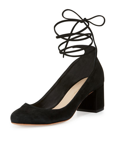 Clara Suede Ankle-Wrap Pump