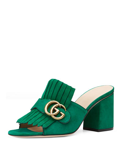 1413f8ad02a Gucci Marmont Suede Fringe Slide Sandals