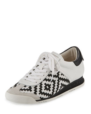 Ash Leather Woven Sneakers