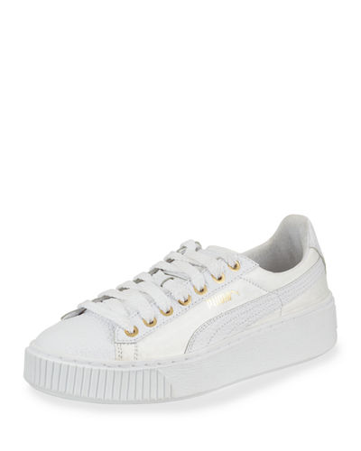 Basket Pearlized Leather Low-Top Sneaker
