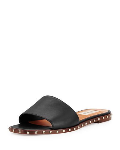 Soul Stud Leather Mule Slide
