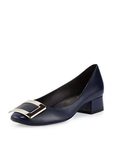 Belle de Nuit Leather Pump, Navy