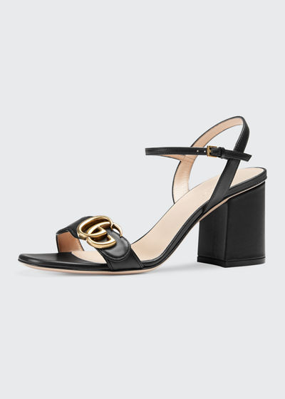 7842d2db25d7 Gucci Marmont Leather GG Block-Heel Sandals
