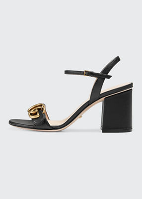 Marmont Leather Gg Block-Heel Sandals, Black