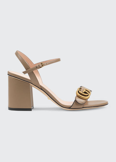 Marmont Leather GG Block-Heel Sandals