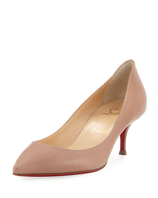 CHRISTIAN LOUBOUTIN PIGALLE FOLLIES 55MM PATENT RED SOLE PUMP, NUDE