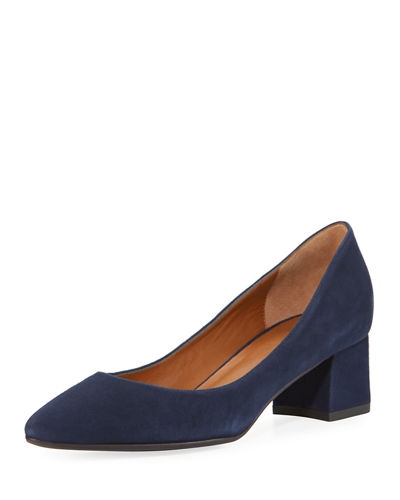 Phoebe Suede 45mm Block-Heel Pump