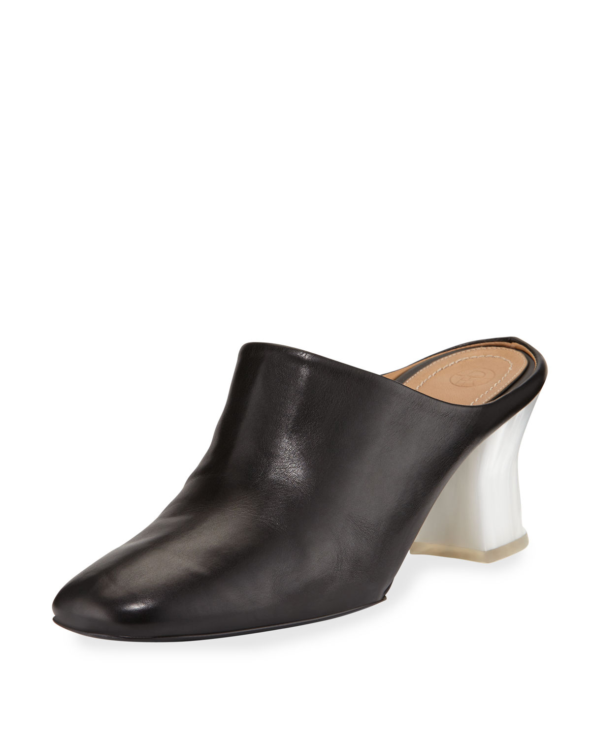 Adela Leather Block-Heel Mule, Black/White