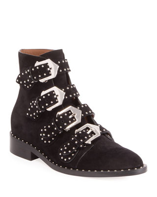 Elegant Flat Black Sueede Leather Ankle Boots