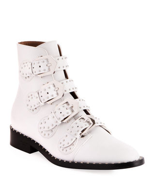 White Ankle Boots With Studs Inserts