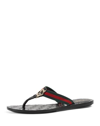 c630b34e42f5 Gucci GG Web Thong Sandals