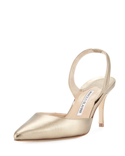Carolyne Metallic Leather Mid-Heel Slingback Pumps