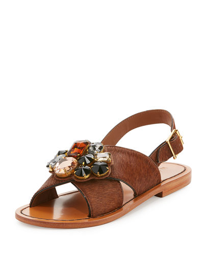 8c6b763090ba Marni Jeweled Calf Hair Crisscross Sandal