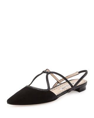 Manolo Blahnik Leather Slingback Flats