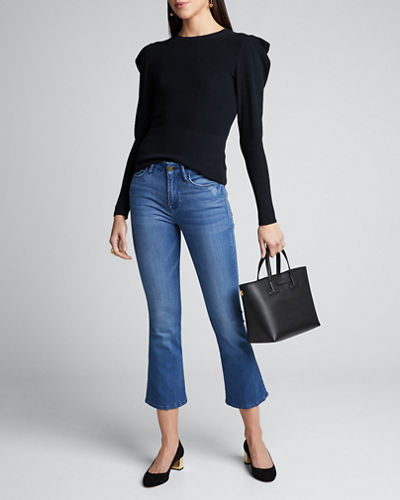 Puff-Sleeve Rib Feminine Sweater