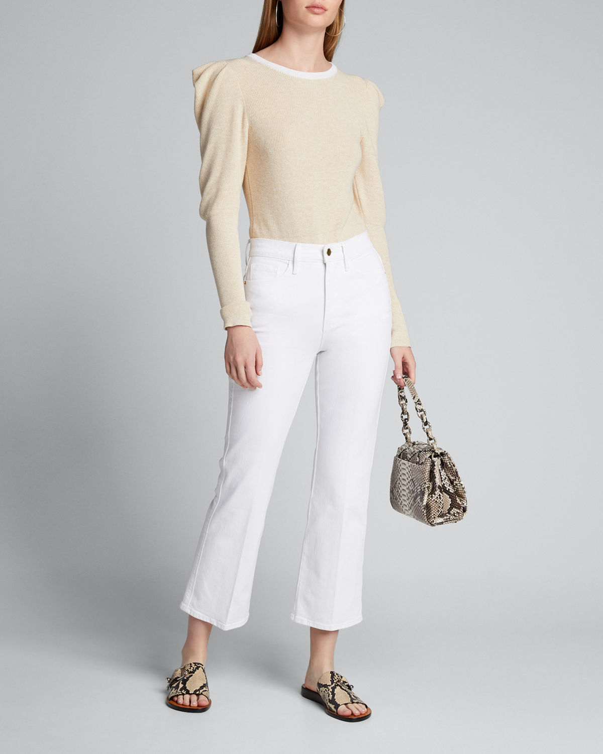 Frame Sweaters PUFF-SLEEVE RIB FEMININE SWEATER