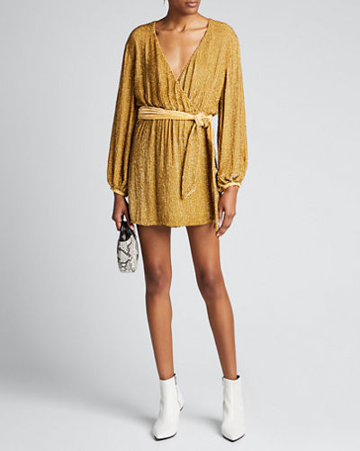 Julie Sequined Blouson-Sleeve Cocktail Dress