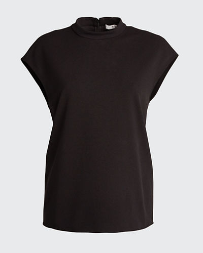 Structured Crepe Mock-Neck Sleeveless Top