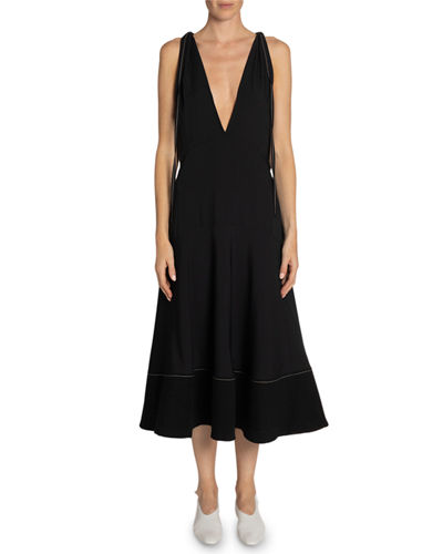 Deep V-Neck Sleeveless Midi Dress