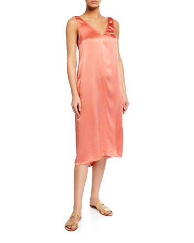 V-Neck Half Bias Silk Charmeuse Slip Dress