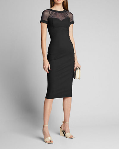 High-Neck Mesh-Yoke Cap-Sleeve Illusion Dress