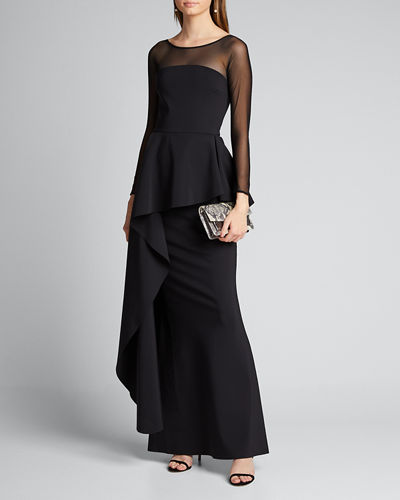 High-Neck Long-Sleeve Illusion Gown w/ Elongated Peplum