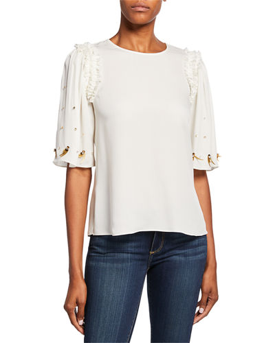 Krissy Embellished Elbow-Sleeve Silk Blouse