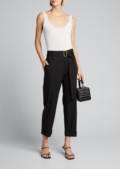 Belted Linen Ankle Pants