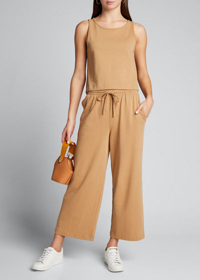 Cropped Wide-Leg Pull-On Pants