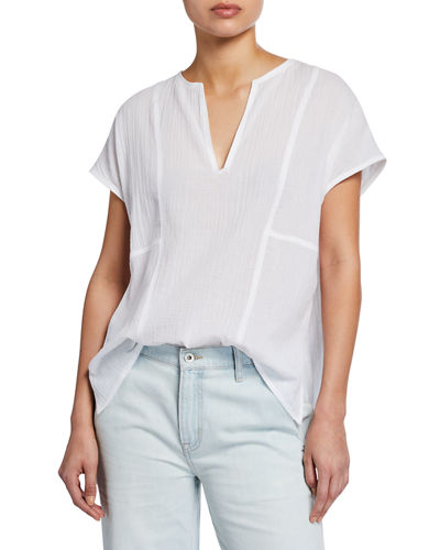 V-Neck Short-Sleeve Seamed Popover Top
