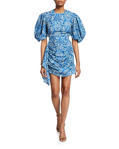 Pia Printed Puff-Sleeve Short Dress