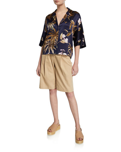 High-Rise Belted Bermuda Shorts