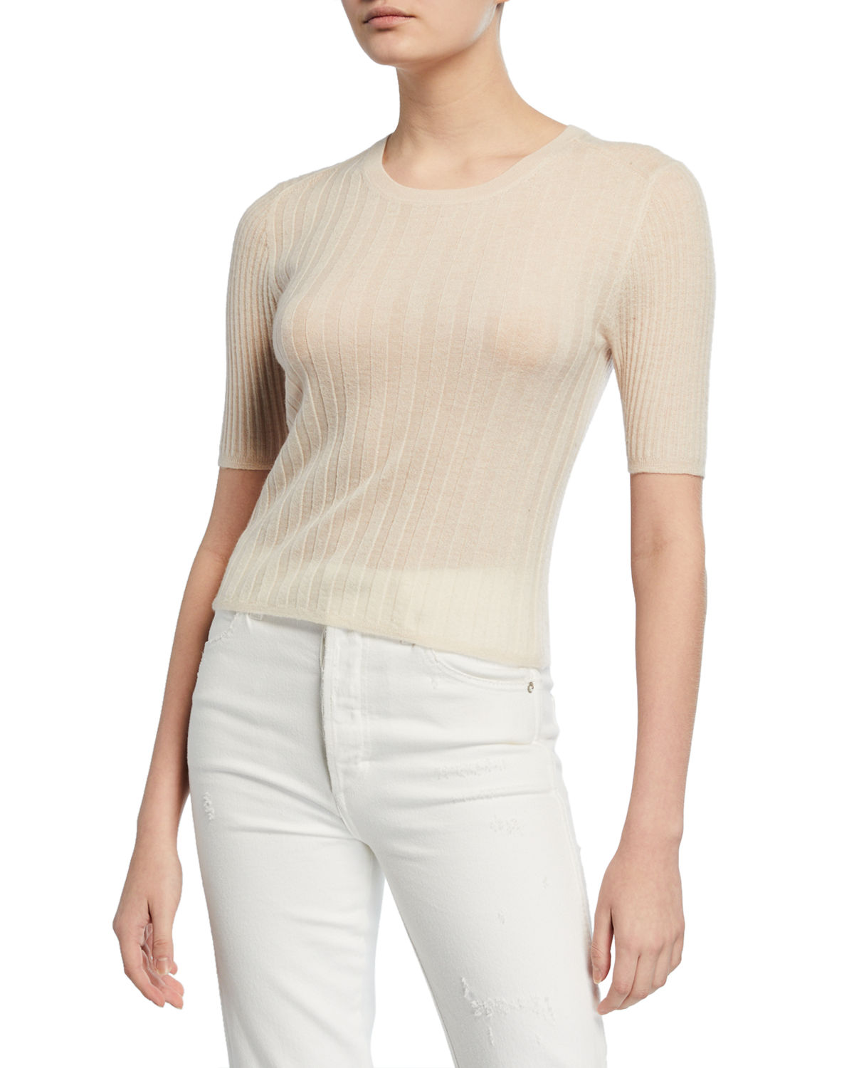 Vince Tops CREWNECK ELBOW-SLEEVE RIBBED CASHMERE PULLOVER