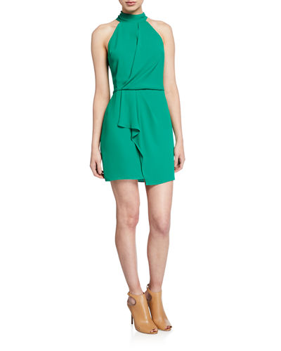F2 Sleeveless Mock-Neck Dress with Drape Front Detail