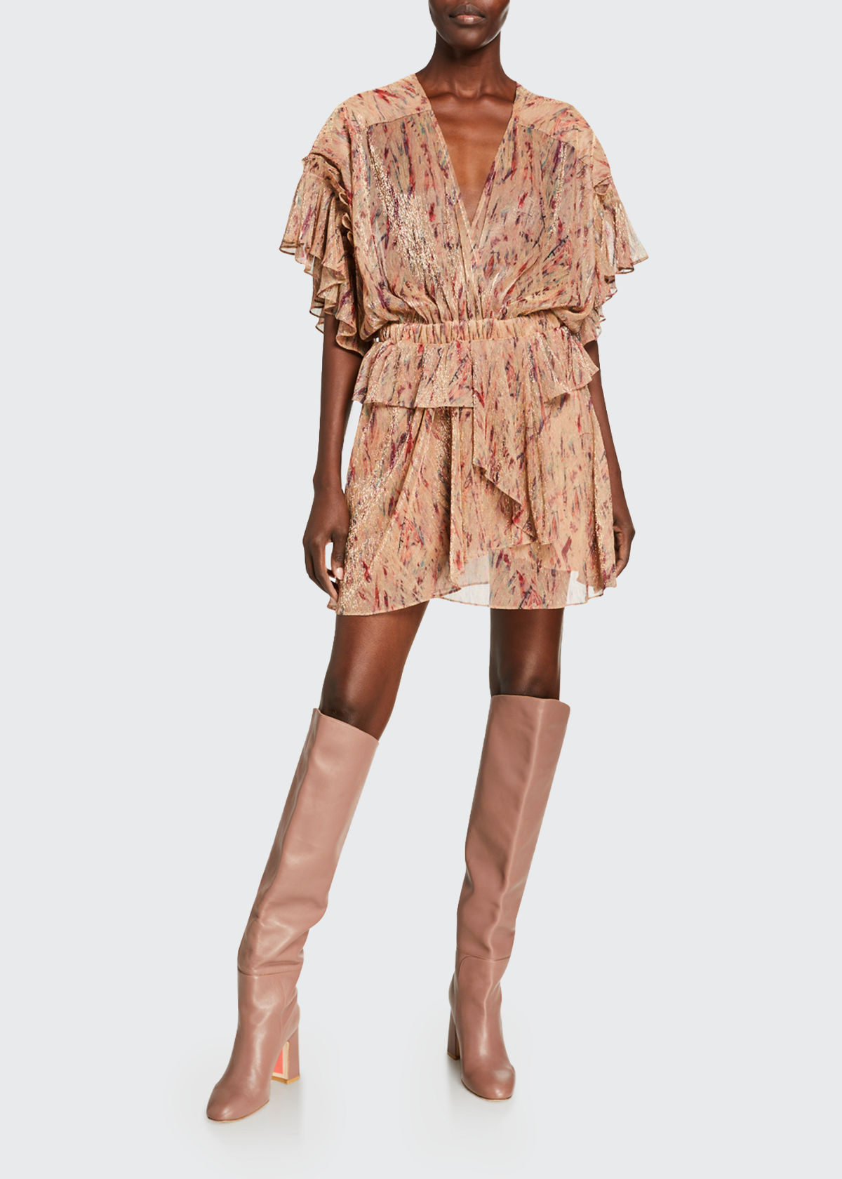 IRO BUOUX METALLIC RUFFLE DRESS