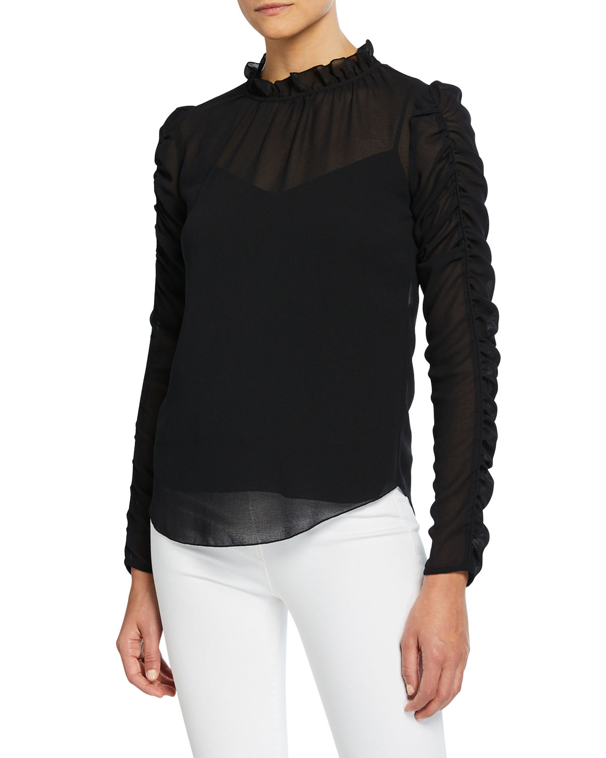 See By Chloé Tops LONG-SLEEVE RUCHED GEORGETTE BLOUSE