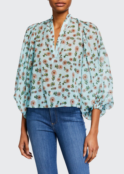 Casey Mandarin-Collar Balloon-Sleeve Blouse