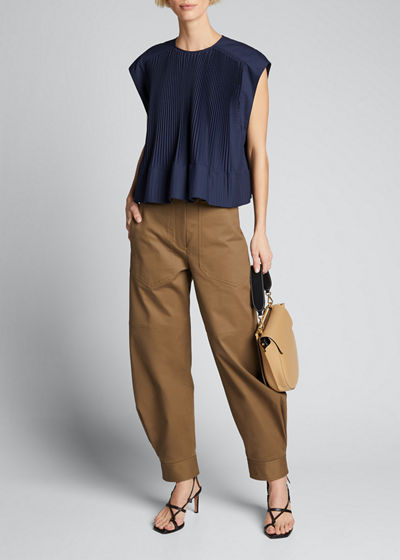 Pleated Cotton Yoked Top