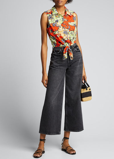 Lou Printed Tie-Front Blouse